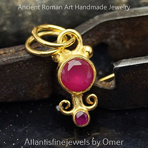 RED TOPAZ SMALL PENDANT STERLING SILVER 24K YELLOW GOLD OVER HANDMADE TURKISH FINE JEWELRY
