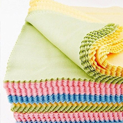 Fiber Rag 100% - AMA(TM) 100pcs Absorbent Microfiber Square Cleaning Towel Wash Cloth Hand Towel Wiping Rags for Phone Screen Camera Lens Glasses (100)