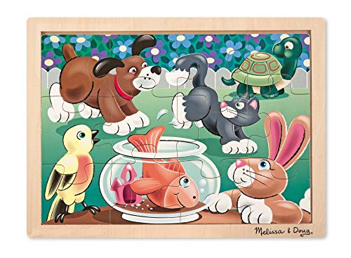 (Melissa & Doug Pets Wooden Jigsaw Puzzle With Storage Tray (12 pcs))