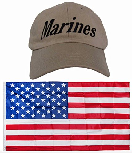 USMC Marines EGA Distressed Marine Corps Khaki Washed Style Embroidred Hat Cap & USA Flag 3x5 Super Polyester Nylon Flag 3'x5' House Banner Grommets Double Stitched Premium ()