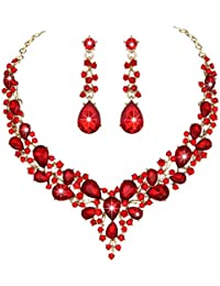 Bridal Austrian Crystal Necklace and Earrings Jewelry Set Gifts fit with Wedding Dress(Red)