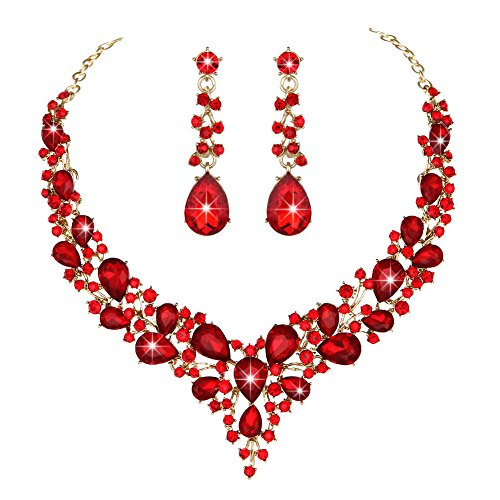 Youfir Bridal Austrian Crystal Necklace and Earrings Jewelry Set Gifts fit with Wedding Dress(Red) -