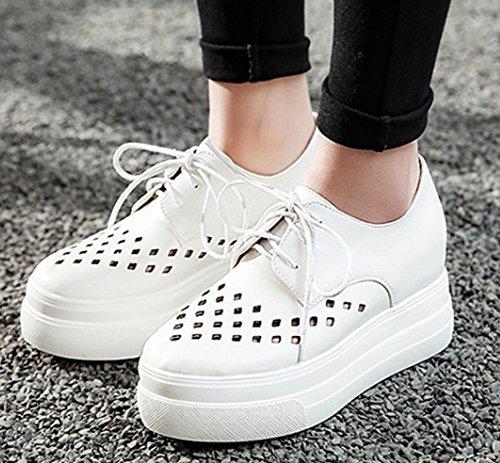 Easemax Plateforme Blanc Rond Découpe Femme Sneakers Bout Décontracté rtq8rwO