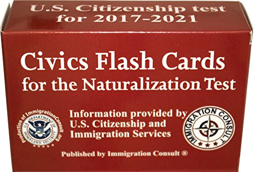 US Citizenship test civics flash cards for the naturalization exam with all official 100 USCIS questions and answers. Illustrated Pocket Box set flashcards to help study for the American Civics cover
