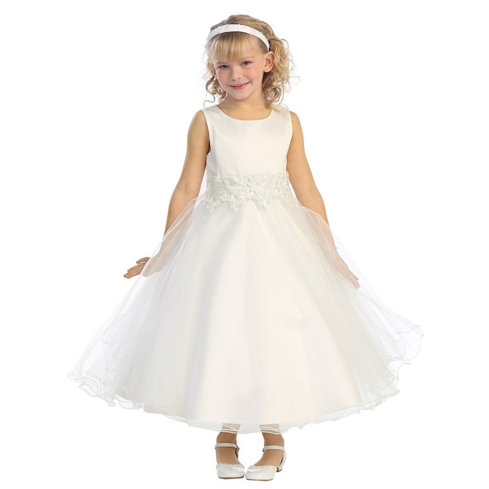 c05874754a1 Amazon.com  Little Girls Ivory Embroidered Satin A-Line Tulle Flower Girl  Dress 2-6  Clothing