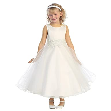 246f302fc08 Amazon.com  Little Girls Ivory Embroidered Satin A-Line Tulle Flower ...