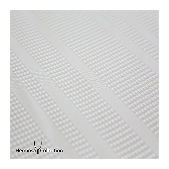 """Hermosa Collection White Waffle Weave Shower Curtain 230 GSM Heavy Fabric Hotel Quality Textured Design Water Repellant 72 x 72 Inches - Classic White Shower Curtain – Heavy fabric, beautiful, and perfect for modern bathrooms, these curtains help brighten up your space with stunning style and originality. Waffle Stripped Textured Fabric – Crafted with 100% polyester these fabric curtains provide spa and hotel-quality comfort with a blend that pairs well with other room decor. Long, Wide Coverage – At 72"""" x 72"""" on size, these textured shower curtains pair perfectly with clear, plastic inner liners to cover the size of most standard bathtubs. - shower-curtains, bathroom-linens, bathroom - 51Gb2 1JXYL. SS570  -"""