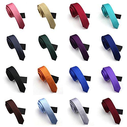 Elviros Men's Eco-friendly Fashion Solid Skinny Tie 1.6'' [ Bundle of 16 - Lapis Pin Tie