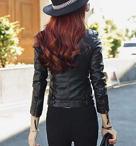 stile primavera da europeo Nero SED da giacca slim in Giacca moto PU donna e giacca M americano 4qwIw7zWR