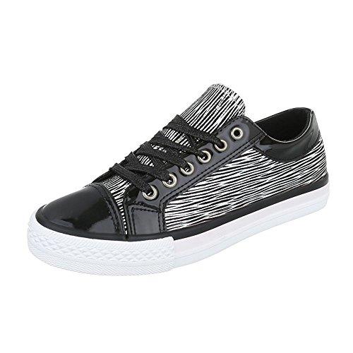 Sneakers Low Damenschuhe Schnürsenkel Ital-Design Freizeitschuhe Schwarz Silber AB-16