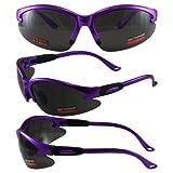Cougar 2 AST Safety Glasses, Lot 12, Purple Frame, Polycarbonate Smoke Lens