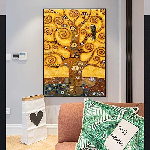 T-YIFUZX DIY Pintar por numeros Sin Marco El arbol de la Vida de Gustav Klimt Una Copia de la Famosa Pintura del arbol de la Vida de la Sala de Gustav Klimt 40x50cm