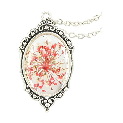 FM FM42 Vintage Style Red Dried Flowers Encased in Simulated Resin Oval Pendant Necklace FN2037
