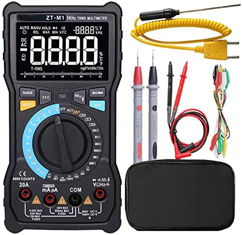 Manual Auto Mode Digital Multimeter True RMS 3-Line Display 8000 Counts Auto-Ranging DMM VFC Temperature Capacitance AC DC Voltage Current Battery Tester with Analog Bargraph