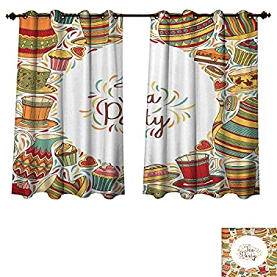RuppertTextile Tea Party Blackout Curtains Panels for Bedroom Cartoon Drawing Style Kitchenware and Tea Party Items Cups Pots Colorful Design Decor Curtains Multicolor