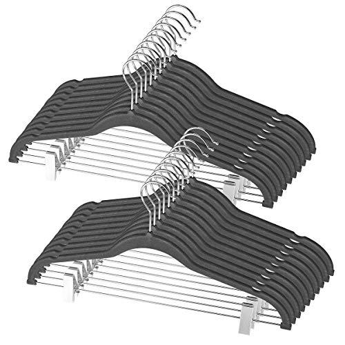 FULITY 20 Pack Velvet Pants Hangers with Metal Clips - 360 Degree Chrome Swivel Hook - Ultra Thin Non Slip Skirt Hangers-16.5inch-Grey
