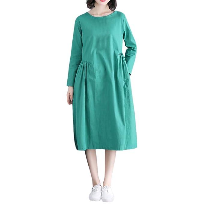 Damen Elegant Kleider Hemdkleid T-Shirt Langarmkleid Hülsen Strandkleid  Lose Einfache Einfarbig Mini Kleidet beiläufige Lange mit Taschen Baumwolle  und ... d33a11de76
