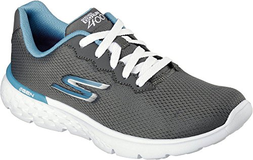 Skechers Performance Women's Go Run 400 Action Running Shoe, Charcoal/Blue, 10 M US