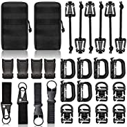 Molle Backpack Attachments Kit of 28 Accessories, D-Ring Grimloc Locking Gear Clip Web Dominator Elastic Strin