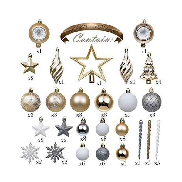 Valery Madelyn Palle di Natale 100 Pezzi di Palline di Natale, 3-5 cm Eleganti Ornamenti di Palle di Natale Infrangibili Bianchi e Dorati per la Decorazione Dell'Albero di Natale 3 spesavip