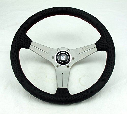 Nardi Steering Wheel - Deep Corn - 350mm (13.78 inches) - Black Perforated Leather with Red Stitching - White Anodized Spokes - Classic Horn Button - Part # 6069.35.1093