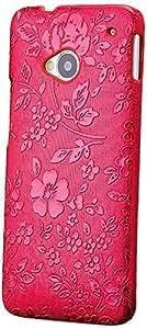 iCues HTC One M7 Funda | Cromo Flor Case | rojo | Carcasa Bolsa Cover Bumper