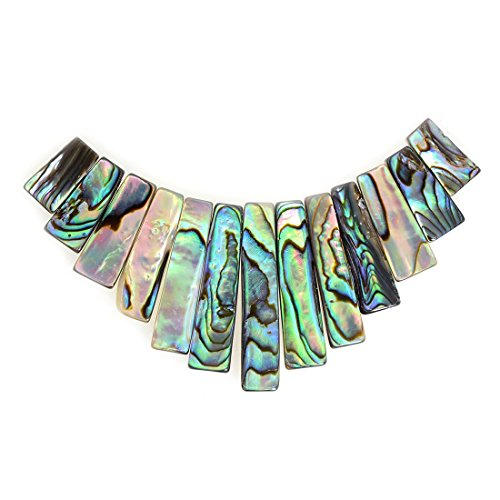 Gemstone Graduated Necklace (Justinstones Natural Abalone Shell Rectangle Graduated 13pcs Wide Beads Set)