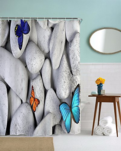 A.Monamour White Rocks Stones Colorful Butterfly Backgrounds Yoga Zen Meditation Themed Polyester Fabric Waterproof Mildew Resistant Shower Curtain For Bathroom Decors 180X180 Cm/72X72 Inch