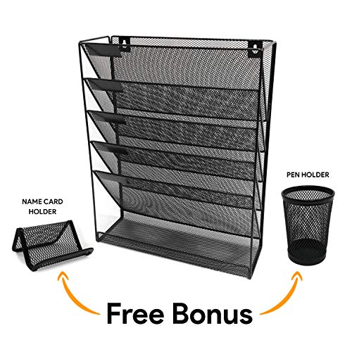 Wall File Organizer 5 Tier 6 compartments Black Metal Mesh Freestanding Wall Mounted File Holder Hanging Rack Letter Size Document Organizers Books Magazine Office Home Name Card Holder Pen Holder ()