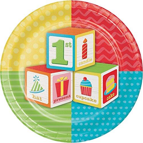 ABC Blocks 1st Birthday Dessert Plates, 24 ct ()