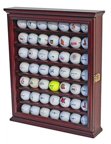 49 Golf Ball Display Case Cabinet Wall Rack Holder w/Lockable (Cherry)