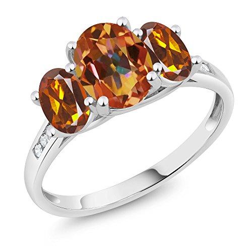 Genuine Madeira Citrine Ring - Gem Stone King 10K White Gold Diamond Accent Mystic Topaz Orange Red Madeira Citrine 3-Stone Ring 2.10 Ct (Size 6)