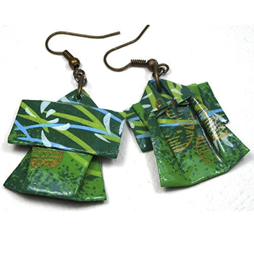 Paper Origami Kimono Lightweight Earrings, Shades of Green & Gold ()