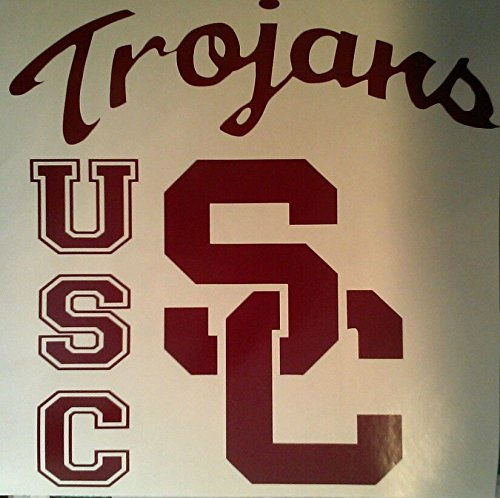 Burgundy Vinyl Bean Bag - USC Trojans Cornhole Decals - 2 Cornhole Decals and 2 Hole Rings