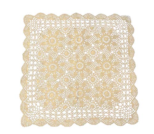 (Laivigo Handmade Crochet Cotton Lace Tablecloth Placemats Doilies Doily Square,31 Inch,Beige)