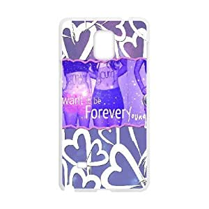 wugdiy New Fashion Hard Back Cover Case for Samsung Galaxy Note 4 with New Printed Forever Young