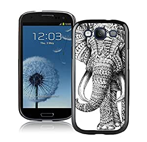 Aztec Elephant Rubber Black Samsung Galaxy S3 Cellphone Case Lovely and Grace Look