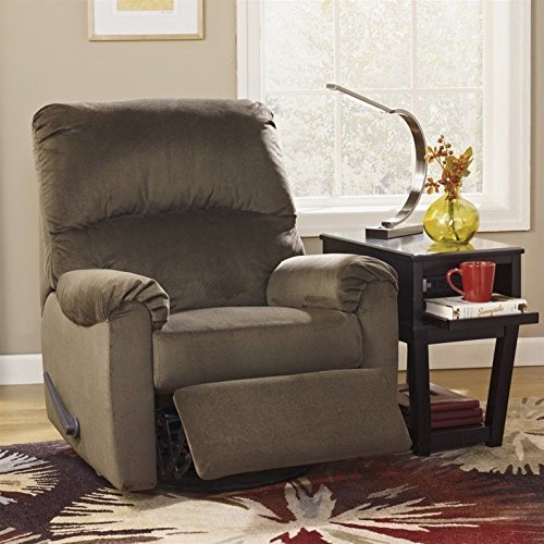 Umber Pull - Ashley Furniture Signature Design - McFarin Manual Recliner - Swivel Glider - 1 Pull Reclining - Umber Brown