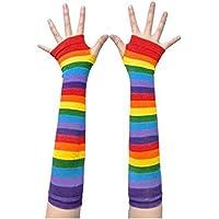 NAVAdeal Rainbow Stripe Arm Leg Warmer Knit Fingerless Gloves Stockings Costume