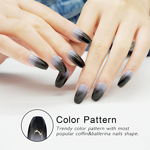 False Nails Coffin Shape with Designs 24 Pieces Full Cover Ballerina Girls Fake Nails ()