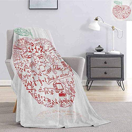Educational Children's Blanket Apple with School Symbols Basic Formulas Exercise Study School Theme Lightweight Soft Warm and Comfortable W57 x L74 Inch Red Forest Green