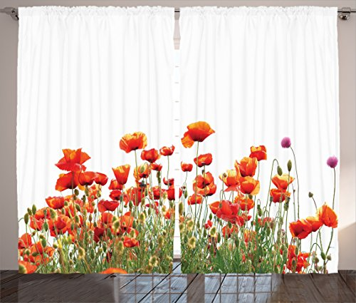 Ambesonne Poppy Decor Collection, Popeyes Springfield Countryside Botanical Nature Meadow Landscape Print, Living Room Bedroom Curtain 2 Panels Set, 108 X 90 Inches, Orange Red Green