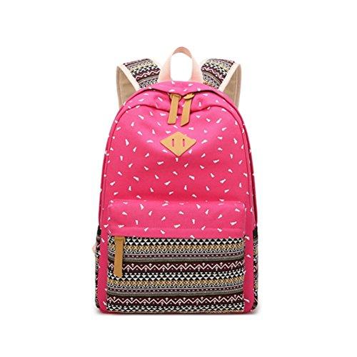 Black occasionnels pouces femmes Toile Hot Pink Sac Collège Style Sac pied 14 d'impression dos Voyage Preppy nationale Motif Lady à Winnerbag de pour l'École HqwpA5B