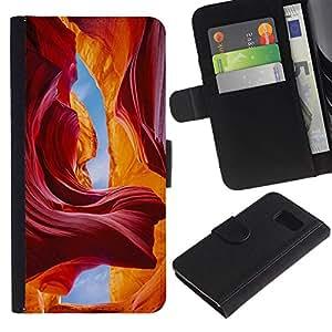 KingStore / Leather Etui en cuir / Samsung Galaxy S6 / Red Sky Cuevas Cañón Sand Sun