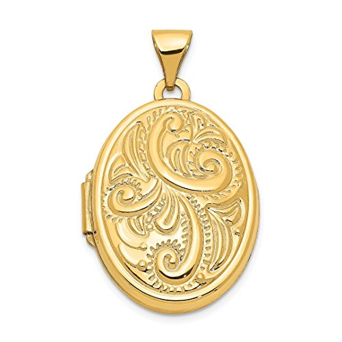 14k Yellow Gold Domed Oval Photo Pendant Charm Locket Chain Necklace That Holds Pictures Fine Jewelry For Women Gift Set -