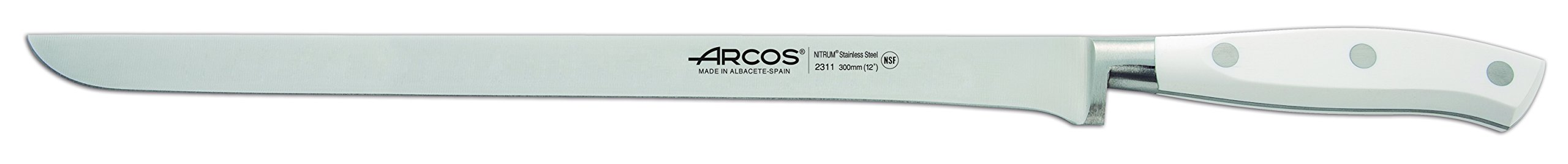 Arcos Riviera Forged Slicing Flexible Ham Knife with White Handle, 12-Inch