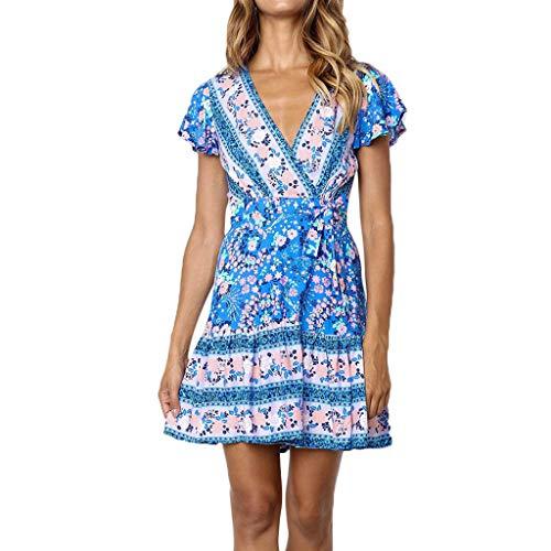- TOTOD Women's Sexy Dress, Summer Boho Floral Print V Neck Minidress Short Sleeve Bandage Evening Party Dress