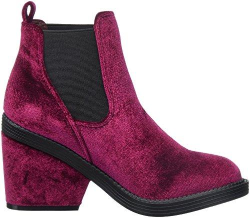 Boot Velvet Burgundy Bootie Velvet Women's Qupid Ankle Ig5UxnZ