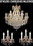 3pc Lighting Set - Maria Theresa Crystal Chandelier and 2 Wall Sconces