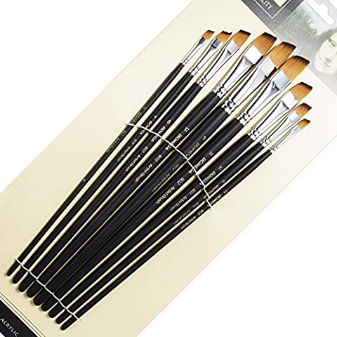 9 Pieces Artist Paint Brushes Nylon Angled Flat Paint Long Handle Value Set for Oils, Acrylic, Gouache & Watercolor Painting-Lightwish (Angled Flat (Flat Top Paint Brush)